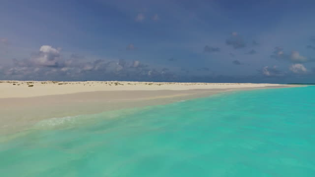 v00122 Maldives beautiful beach background white sandy tropical paradise island with blue sky sea water ocean 4k video