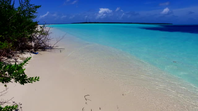 v00145 Maldives beautiful beach background white sandy tropical paradise island with blue sky sea water ocean 4k video