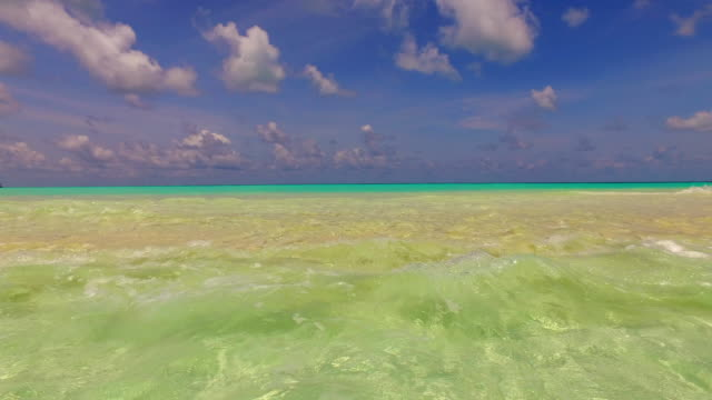 v00292 Maldives beautiful beach background white sandy tropical paradise island with blue sky sea water ocean 4k video