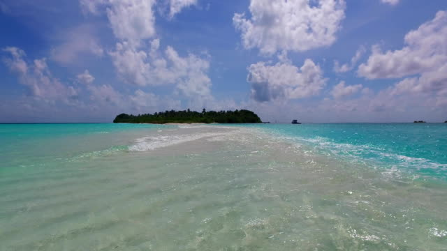 v00293 Maldives beautiful beach background white sandy tropical paradise island with blue sky sea water ocean 4k video