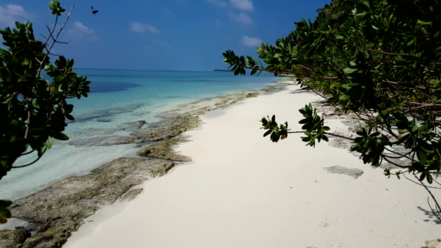 v01005 Maldives beautiful beach background white sandy tropical paradise island with blue sky sea water ocean 4k video