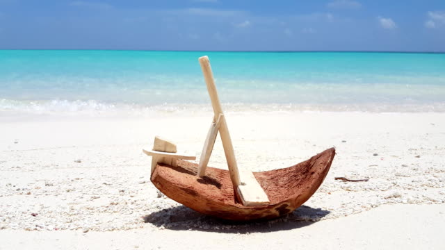v01087 Maldives beautiful beach background white sandy tropical paradise island with blue sky sea water ocean 4k toy coconut boat video