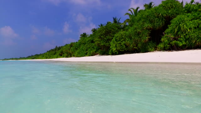 v01538 Maldives beautiful beach background white sandy tropical paradise island with blue sky sea water ocean 4k video