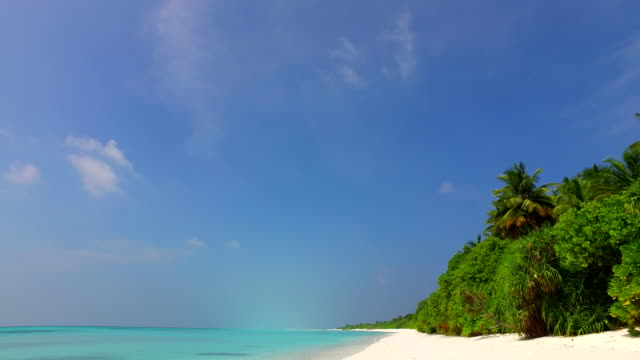 v01728 Maldives beautiful beach background white sandy tropical paradise island with blue sky sea water ocean 4k video