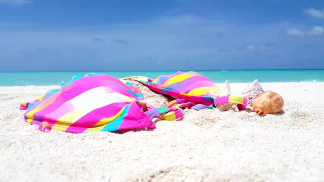 v01805 Maldives beautiful beach background white sandy tropical paradise island with blue sky sea water ocean 4k pink bikini seashell video