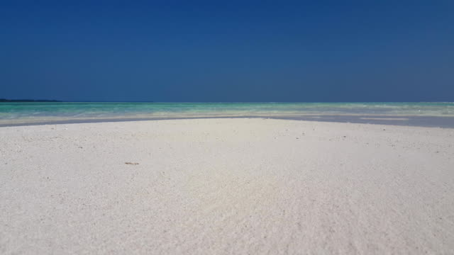 v02097 Maldives beautiful beach background white sandy tropical paradise island with blue sky sea water ocean 4k video