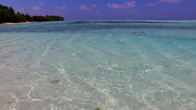 v02122 Maldives beautiful beach background white sandy tropical paradise island with blue sky sea water ocean 4k video