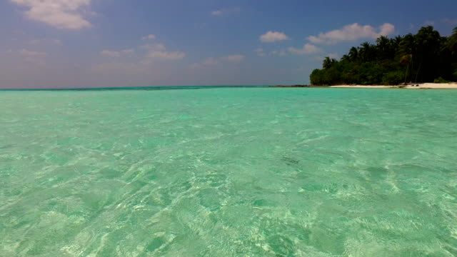 v02141 Maldives beautiful beach background white sandy tropical paradise island with blue sky sea water ocean 4k video