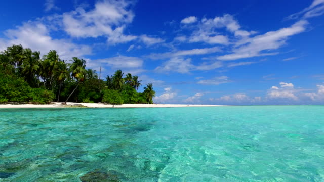 v02186 Maldives beautiful beach background white sandy tropical paradise island with blue sky sea water ocean 4k video