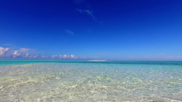 v02340 Maldives beautiful beach background white sandy tropical paradise island with blue sky sea water ocean 4k video