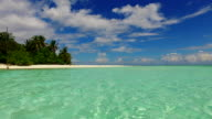 v02486 Maldives beautiful beach background white sandy tropical paradise island with blue sky sea water ocean 4k video