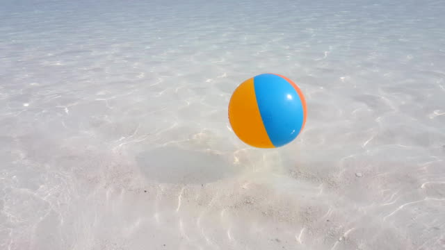 v02509 Maldives beautiful beach background white sandy tropical paradise island with blue sky sea water ocean 4k ball video