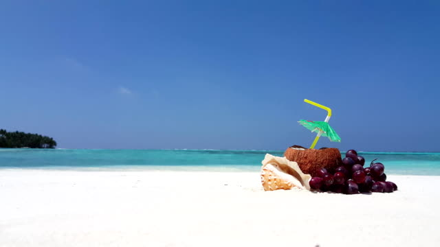 v02531 Maldives beautiful beach background white sandy tropical paradise island with blue sky sea water ocean 4k coconut video