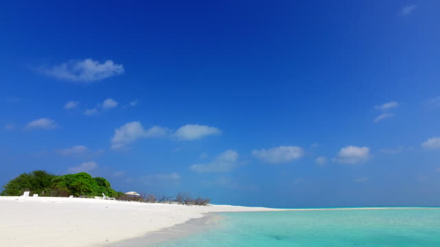 v02560 Maldives beautiful beach background white sandy tropical paradise island with blue sky sea water ocean 4k video