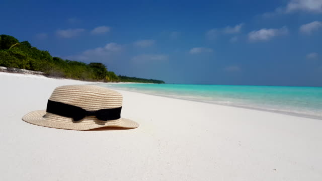v02573 Maldives beautiful beach background white sandy tropical paradise island with blue sky sea water ocean 4k hat video