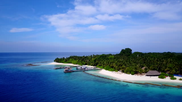 v04561 Aerial flying drone view of Maldives white sandy beach on sunny tropical paradise island with aqua blue sky sea water ocean 4k video