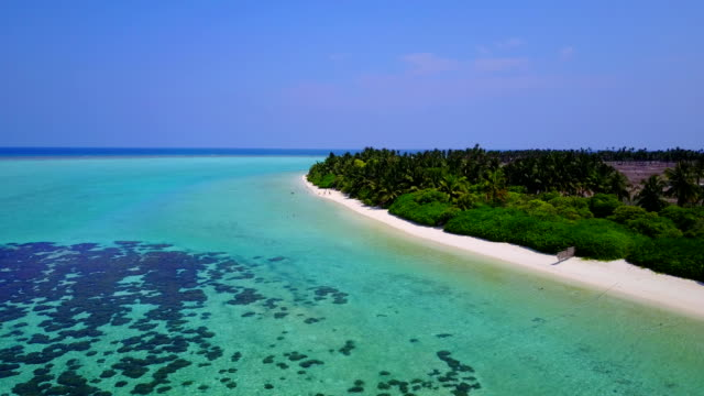 v04910 Aerial flying drone view of Maldives white sandy beach on sunny tropical paradise island with aqua blue sky sea water ocean 4k video