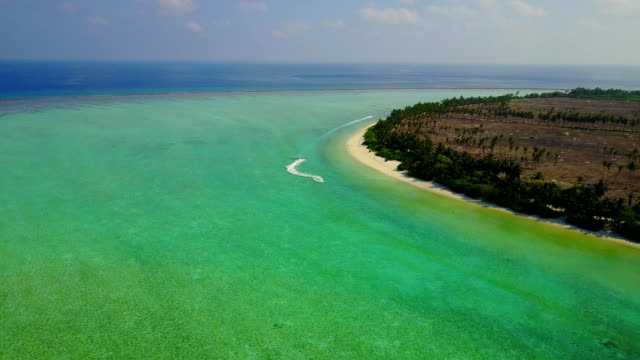 v04943 Aerial flying drone view of Maldives white sandy beach on sunny tropical paradise island with aqua blue sky sea water ocean 4k video