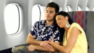 Vacation Couple Traveling On Airplane video