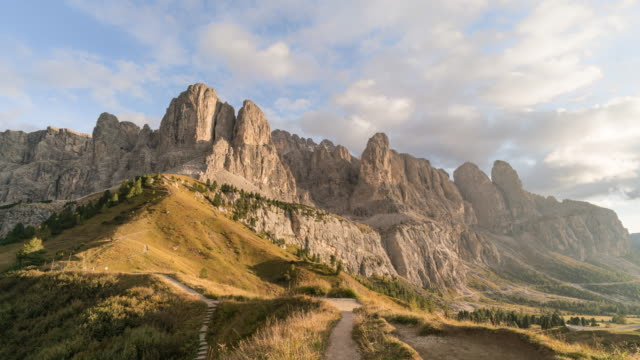 Val Gardena in Dolomites mountain at Dusk time Lapse video