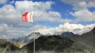 Valais Canton flag from la Cabane des Dix, Switzerland video