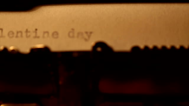 'valentine day' typed using an old typewriter video