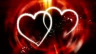 Valentine's Day Twin Hearts Flourish Animation video