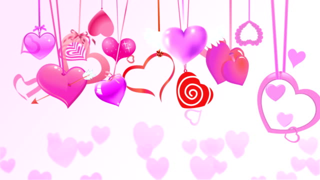 Valentine's Day.Bunch of Hearts Swinging video