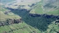 Valley Leading To Cathedral Peak  - Aerial View - KwaZulu-Natal,  South Africa video