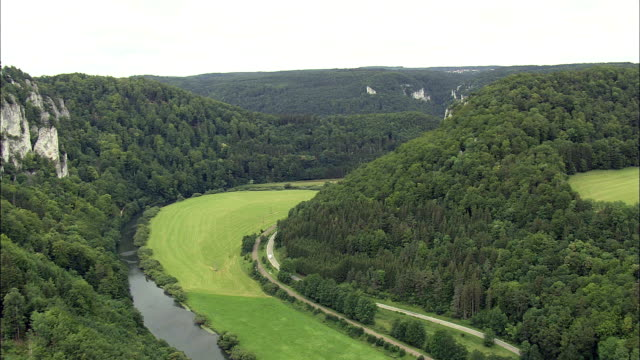 Valley On Upper Reaches Of the Danube  - Aerial View - Baden-Württemberg,  Tübingen Region,  Landkreis Sigmaringen helicopter filming,  aerial video,  cineflex,  establishing shot,  Germany video