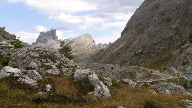 Valparola Pass in the Dolomites Mountains PAN video