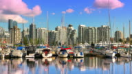 Vancouver British Columbia Canada Skyline, Buildings and Boats Reflection video