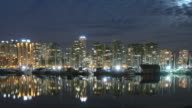 Vancouver Night Skyline B Time Lapse Panning video
