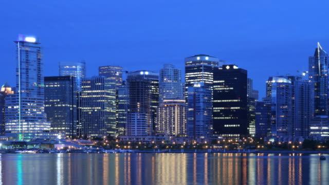 Vancouver Night Skyline Time Lapse Panning video