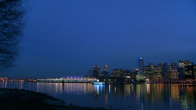 Vancouver skyline at dusk video