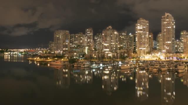 Vancouver Skyline Night Time Lapse Panning video