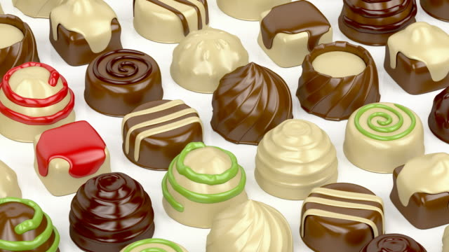 Variety of chocolate candies video