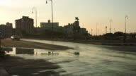 Variety of classic cars driving in golden hour sunset in Havana video