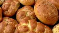 Variety of fresh bread on sacking video