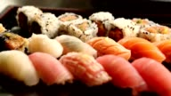 Variety of sushi . Macro shot of sushi video