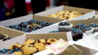 Variety of sweet baked desserts at confectionery or coffee shop, small business video