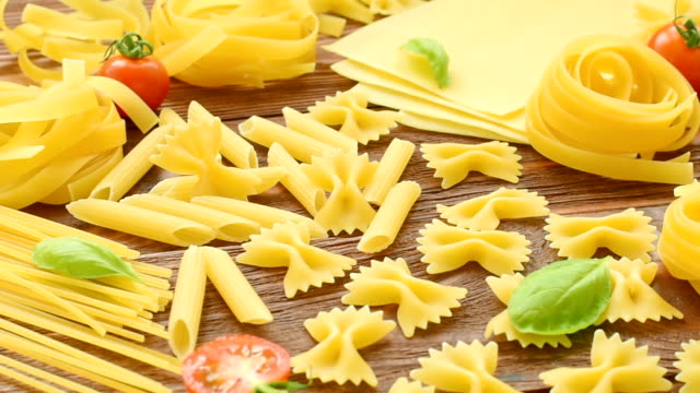 Variety of types and shapes of Italian pasta video