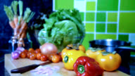 Variety vegetable on wooden box in kitchen / food and drink, healthy lifestyle conceptual video