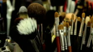 Various brushes of make-up artist, close up video