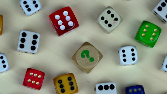 Various colorful dice. Gambling concept. turntable video