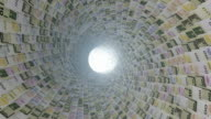 Various currencies tunnel fly through, light bloom video