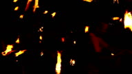 Various flame artists spin twist dance with fire pois, video
