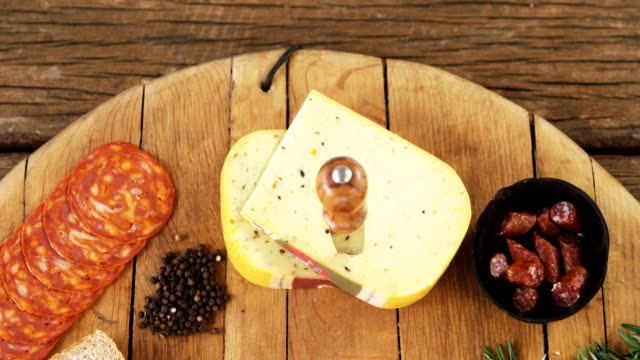 Various food items on wooden board video