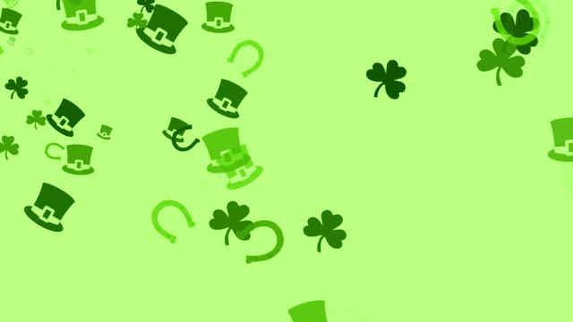 Various Irish symbols are drifting across screen (High Definition 1080p) video