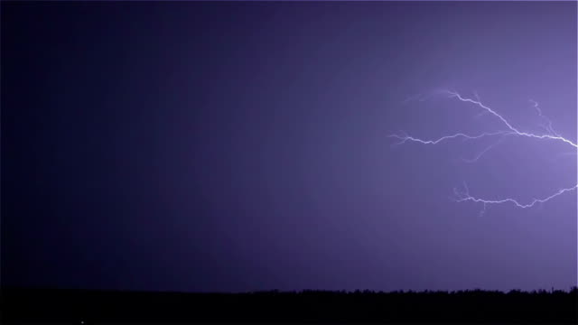 Various lightning bolts strike forest night landscape, sound included video